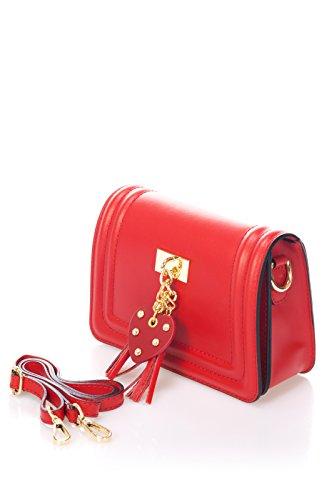Laura Moretti - Rote Ledertasche mit Herz Pom Pom (CLUTCH Style)