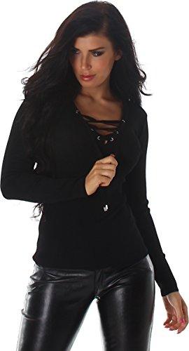 Voyelles Damen Pullover Sweater Sweatshirt Langarm Ripp-Shirt V- Ausschnitt Schnüre 34,36,38,40 Schwarz