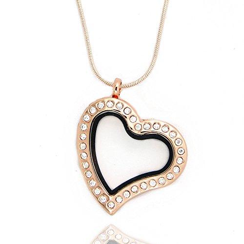 JoJo & Lin Rose Gold Glas gebogen Herz Lazy Herz magnetisch Floating Charme Medaillon mit Schlangenkette - Origami Gold Eule Kette