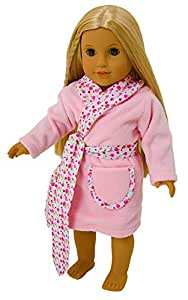 FRILLY LILY DOLLS PINK FLEECE DRESSING GOWN WITH FLOWER TRIM FOR 14-18INS[35-45 CM] DOLL NOT INCLUDED]To fit dolls such as American Girl,Baby Born,Hannah by Gotz,Design a Friend DolL,Kidz and Cats,Precious Day Doll,Happy Kidz and many more dolls of this height.