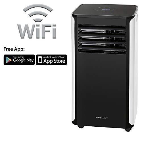 Clatronic CL 3716 Mobiles Klimagerät, kostenlose App für WiFi-Steuerung, 9000 BTU Kühlleistung für große Räume, inkl. Fensterkit zum Abdichten