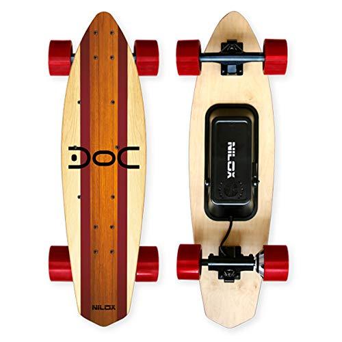 Nilox 30NXSKMO00004, Skateboard Elettrico Unisex – Adulto, Legno/Rosso, 80 cm