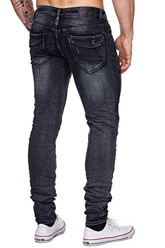 MEGASTYL Biker-Jeans-Hose Herren Stretch-Denim Slim-Fit Crawl-Design Extra Komfort Anthrazit