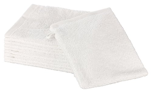 """ZOLLNER® Set de 10 manoplas de baño / guantes de baño de rizo 16x21 cm color blanco, disponible en varios colores, del especialista en textiles para hostelería y gastronomía, serie """"Elba II"""""""
