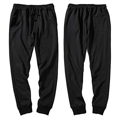 OHQ Pantalon De SurvêTement éLastique Couleur Unie DéContracté pour Homme Pantalons DéContractéS Chantier Troué Basse Shorts Hommes Bermuda Cotton (L, Noir)