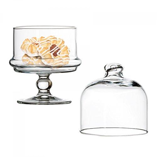 Pasabahce Mini-Patisserie aus Glas mit Haube, kleiner Tortenständer rund, Ø 115 mm, H 185 mm, Servierteller auf Fuß, befüllbar, für Pralinen u. Gebäck