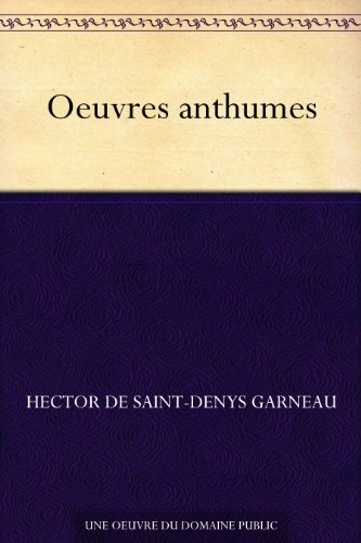 Couverture du livre Oeuvres anthumes