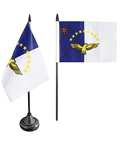 Preisvergleich Produktbild Tischflagge / Tischfahne Azoren + gratis Aufkleber, Flaggenfritze®