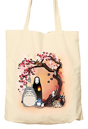 STUDIO GHIBLI CHARACTERS CHERRY BLOSSOM TREE MY NEIGHBOUR TOTORO NO FACE - Tote Bag, Natural Shopping Bag, Environmentally Friendly (100% Bag Baumwolle Tote)