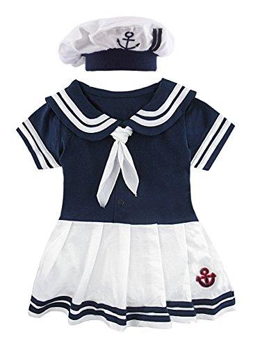 Mombebe Baby Mädchen Matrose Body Sommer Kurz Kleider mit Hut (Matrose 3, 18-24 Monate)