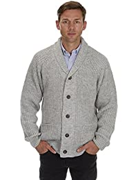 Mens Chunky Knit Shawl Collared Cardigan Thick Warm Winter Sweater Knitwear