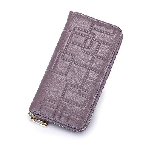 Olprkgdg Damen Leder Brieftasche aus Leder mit Reißverschluss Lange Brieftasche Clutch Wristlet (Color : Purple)