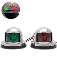 Maso Boat Signal Lighting, 2 IN 1 Green&Red Stainless Steel Marine Yacht Bow Navigation LED Light pack of 1