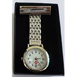 Personalised Premium Quartz Silver Nurse's Fob Watch in a Gift Box