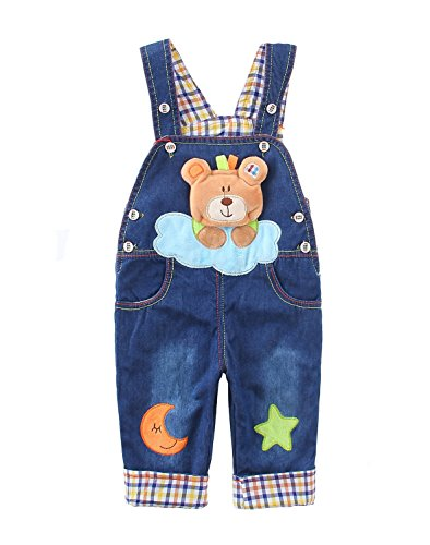 Baby Jungen Mädchen Denim Latzhose Kleinkind Hosenträger Jeans Overall Bärchen mit Stern Mond - 110