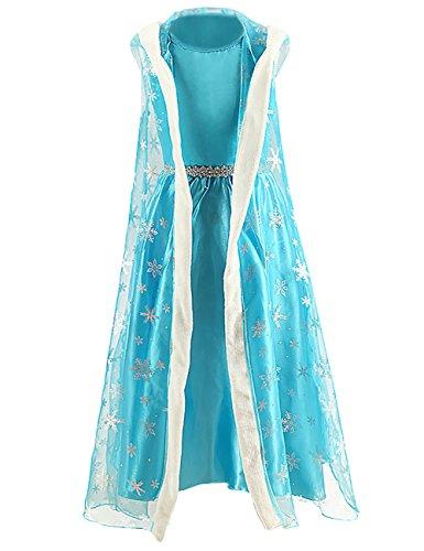 Ninimour Mächen Eiskönigin Eiskönigin Prinzessin Cosplay Fasching Kostüm Tutu Kleid 3-8 Jahre Alt (100, X-Blau)