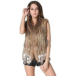 MEEFUR cl¨¢sico para mujer Piel real chalecos de punto chaleco de piel de conejo con la piel del mapache del recorte marr¨®n S