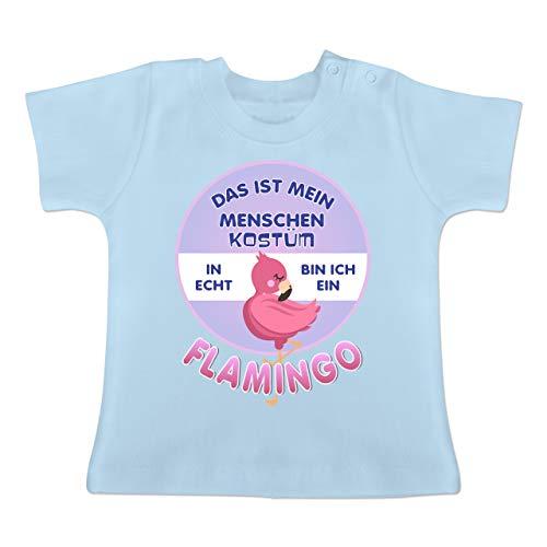 Flamingo Kostüm Baby - Karneval und Fasching Baby - Das ist Mein Menschen Kostüm in echt Bin ich EIN Flamingo - 6-12 Monate - Babyblau - BZ02 - Baby T-Shirt Kurzarm