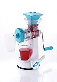 Fruit & Vegetable Juicer | Manual Hand Juicer | Fruit Juicer Stainless Steel Handel Vacuum Base (Colour may vary)