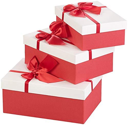 Your Design Geschenkbox: 3er-Set edle Geschenk-Boxen mit roter Schleife, 3 Verschiedene Größen (Geschenkschachtel)