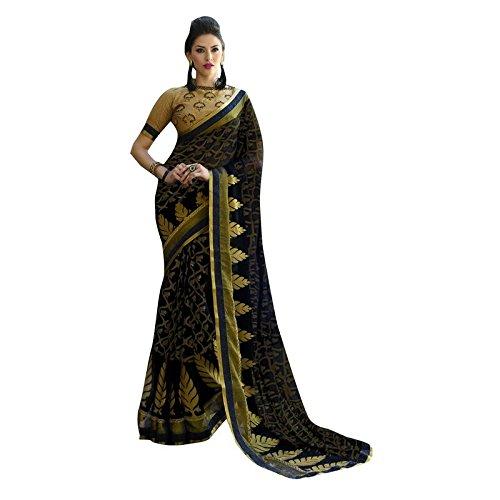 Shaily Retails Women's Black Brasso Printed sarees (RAHI22507SSSR001_Black)
