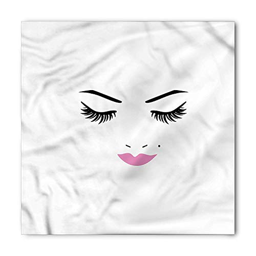 RAINNY Eyelash Bandana, Pink Lips Makeup Beauty, Unisex Head and Neck Tie