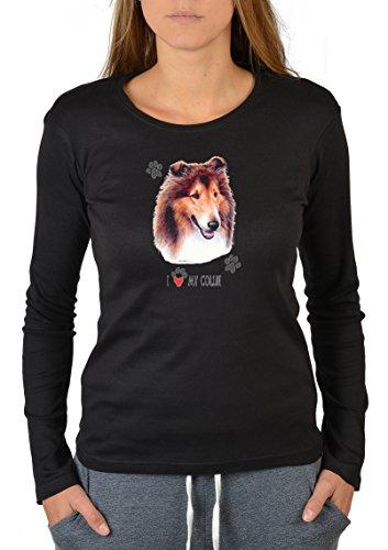 Hunde-Longsleeve-Damen/Langarm-Shirt Dog-Aufdruck: I Love My Collie - für Hundefans Schwarz