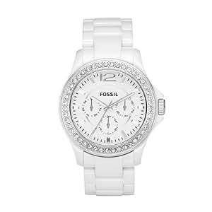 Fossil Ladies White Ceramic Chronograph Watch - CE1010