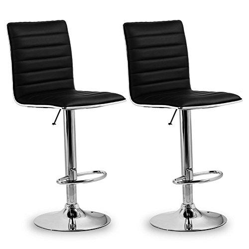 HOMFA 2x Barhocker Barstühle Design Hocker mit Fußablage drehbar stufenlose Höhenverstellung Kunstleder und gut gepolsterte Sitzfläche schwarz (1)