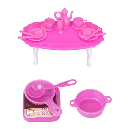 Imported Doll House Dining Table Room Table for Barbie+Doll Kitchen Cooking Utensils Set  available at amazon for Rs.220