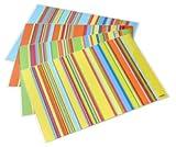 Tischsets Platzsets abwaschbar Stripes von ARTIPICS sortiert 4 verschiedene Farbstellungen je 1 Tischset in jeder Farbe Platzdeckchen Kunststoff 42x30 cm, bunt und fröhlich für alle Tage