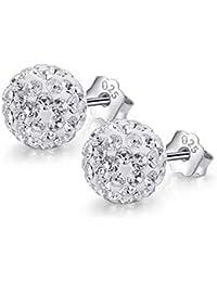 bfaa8e6f7132 Pendientes Mujer Plata de ley 925 - Brillante doble bola de cristal -  Pendientes de joyería de moda para mujer delante y…