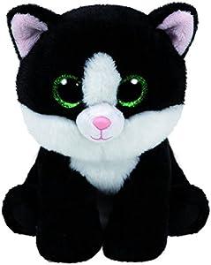 Carletto TY 90246 - Ava - Gato con ojos brillantes, Beanie Classic, 28 cm, color blanco y negro