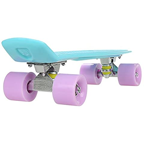 22 Inch Cruiser Skateboard Plastic Fish Board with Bendable Deck and Smooth PU Casters for Kids Boys Youths Beginners ,Multiple Colors