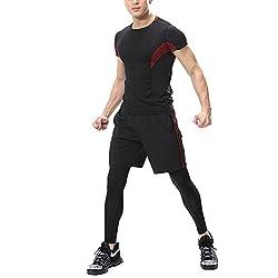 Hombre Deporte Conjunto Camiseta de Manga Corta + Pantalón Corto + Leggings de Compresión Base Vino Rojo 2XL