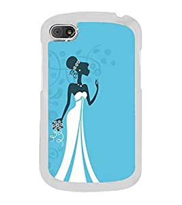 Fiobs Designer Back Case Cover for Blackberry Q10 (Bride Women Marriage Lady Black)