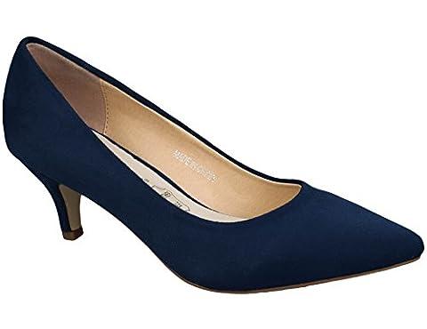 Greatonu Womens Blue Suede Almond Toe Slip-on Kitten Pump Court