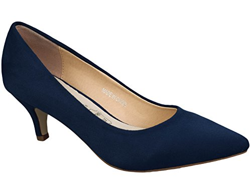 Greatonu Spitz Pumps Nubukleder Kitten Absatz Pointed Toe Blau EU40