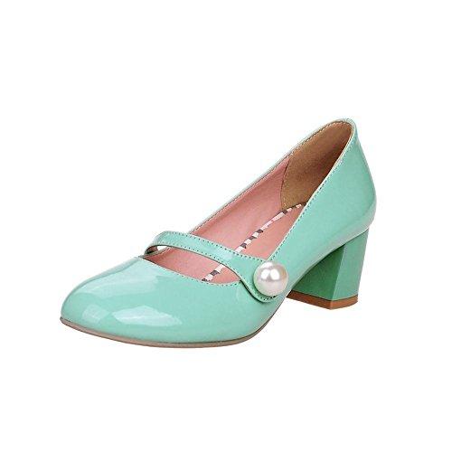 Mee Shoes Damen süß modern bequem dicker Absatz mit falschen Perle runde Geschlossen Blockabsatz Pumps Freizeitschuhe (41, Mint Green)