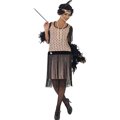Smiffys, Damen 20er Coco Flapper Kostüm, Kleid, Zigarettenspitze, Halskette und Kopfschmuck, Größe: S, (Kostüme Flapper Männer)