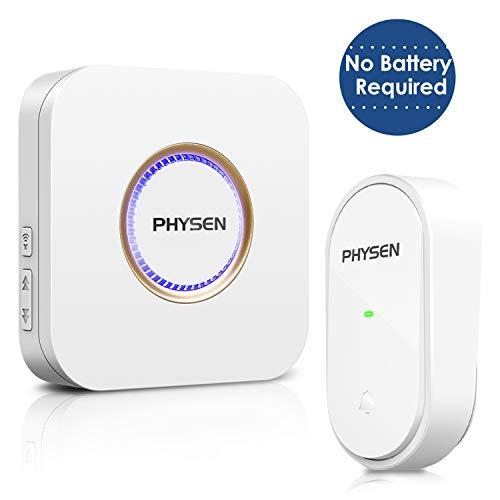 Sonnette de porte sans fil PHYSEN IP55 étanche sans fil sans pile, 1 émetteur et 1 récepteur, 52 sonneries avec flash LED, 4 niveaux de volume, 500 niveaux de portée, blanc