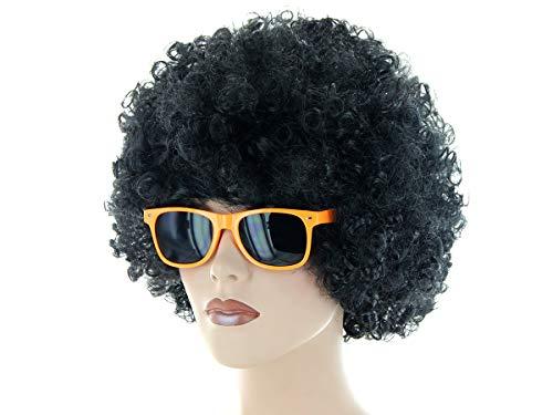 Alsino Disco Party 70er Style Inkognito Modus (Kv-201) mit Riesen Afro Perücke, schwarz - mit...