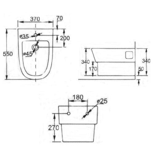EAGO Bidet JB3320 (weiß) Hängebidet mit Nano-Beschichtung passend zu den WCs WD332P, WA332P, WA332S