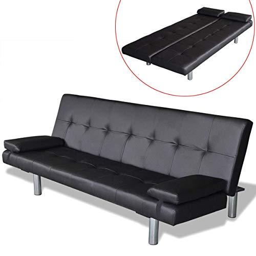 vidaXL Sofá Cama reclinable Lounge 2 Cojines Estructura Madera imitación Cuero