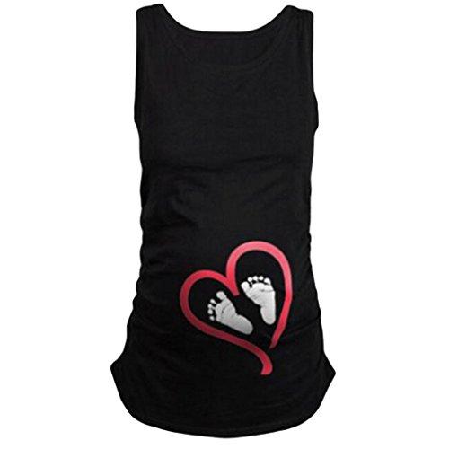 Mama Maternity T-shirt (MCYs Maternity Damen Footprint lässige Schwangerschaft Geschenk ärmellose Umstands-Shirt Pflege Mama Crewneck Umstandsmode für Mutterschaft T-Shirt Weste Bluse (L, Schwarz))