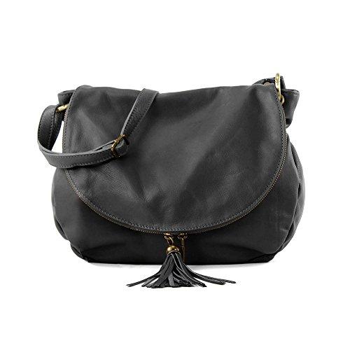 OLGA LARGE Handtasche Satteltasche mit zwei Fächern und Reißverschluss, Weichleder, Hergestellt in Italien
