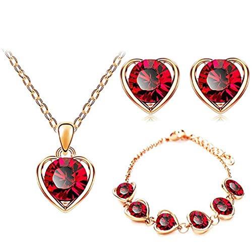 Offerte di liquidazione, fittingran intarsio di strass set orecchino bracciale collana donna a forma di cuore ciondolo collana di san valentino braccialetto di nozze ragazze (rosso)