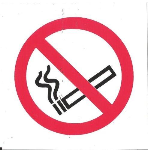 5 x NO SMOKING NEW SYMBOL SIGN SELF ADHESIVE TAXI MINIBUS BUS COACH 100x100mm by FSSS Ltd