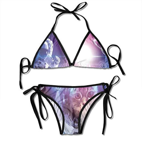 Adjustable Bikini Set Halter Ladies Swimming Costume, Astronauts In Nebula Galaxy with Eclipse In Saturn Planets Image,Halter Beach Bathing Swimwear -