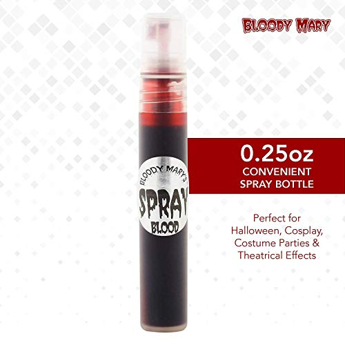 Party Butiko Bloody Mary Fake Blood Makeup Spray - 0.25oz - for Theater and Costume or Halloween Zombie, Vampire and Monster Dress Up